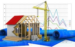 3d of frame house Royalty Free Stock Image