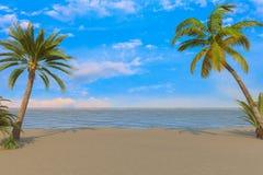 3d framför - ön med palmträd royaltyfri illustrationer