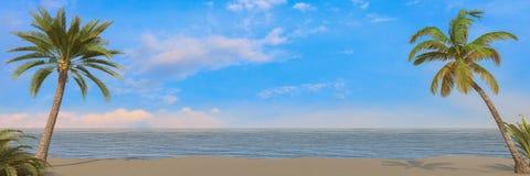 3d framför - ön med palmträd vektor illustrationer