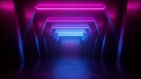 3d framför, abstrakt bakgrund för neon, tomt rum, tunnelen, korridoren, glödande linjer, geometriskt ultraviolett ljus royaltyfri illustrationer