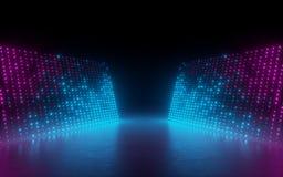 3d framför, abstrakt bakgrund, skärmPIXEL, glödande prickar, neonljus, virtuell verklighet, det ultravioletta spektret, rosa blå  stock illustrationer