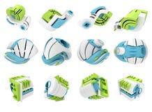 3D framför av geometriska symboler för abstrakt begrepp 3D Arkivbilder