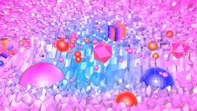 3d framför av abstrakt geometrisk bakgrund med moderna lutningfärger i låg poly stil yttersida 3d med trevligt blått rött royaltyfri illustrationer