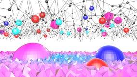 3d framför av abstrakt geometrisk bakgrund med moderna lutningfärger i låg poly stil yttersida 3d med trevligt blått rött stock illustrationer