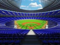 3D framför av baseballstadion med blåa platser och storgubbeaskar Royaltyfri Foto