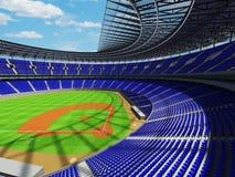 3D framför av baseballstadion med blåa platser och storgubbeaskar Arkivfoton