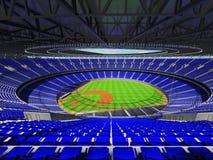 3D framför av baseballstadion med blåa platser och storgubbeaskar Royaltyfria Bilder