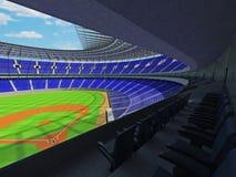 3D framför av baseballstadion med blåa platser och storgubbeaskar Royaltyfri Fotografi
