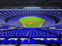3D framför av baseballstadion med blåa platser och storgubbeaskar Arkivfoto