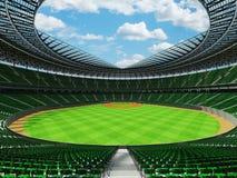 3D framför av baseballstadion med gröna platser och storgubbeaskar Arkivfoto