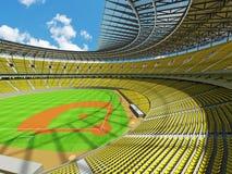 3D framför av baseballstadion med gula platser och storgubbeaskar Arkivbilder