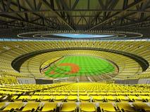 3D framför av baseballstadion med gula platser och storgubbeaskar Arkivfoton