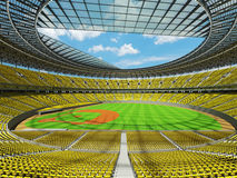 3D framför av baseballstadion med gula platser och storgubbeaskar Royaltyfri Foto