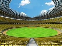 3D framför av baseballstadion med gula platser och storgubbeaskar Arkivfoto