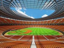 3D framför av baseballstadion med orange platser och storgubbeaskar Arkivfoto