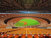 3D framför av baseballstadion med orange platser och storgubbeaskar Arkivbilder