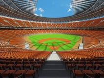 3D framför av baseballstadion med orange platser och storgubbeaskar Royaltyfri Bild