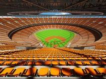 3D framför av baseballstadion med orange platser och storgubbeaskar Royaltyfria Bilder