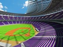 3D framför av baseballstadion med purpurfärgade platser och storgubbeaskar Royaltyfri Bild