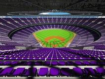 3D framför av baseballstadion med purpurfärgade platser och storgubbeaskar Royaltyfri Foto