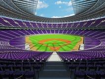 3D framför av baseballstadion med purpurfärgade platser och storgubbeaskar Royaltyfri Fotografi