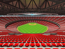 3D framför av baseballstadion med röda platser och storgubbeaskar Royaltyfria Bilder