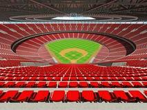 3D framför av baseballstadion med röda platser och storgubbeaskar Arkivbilder