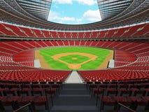 3D framför av baseballstadion med röda platser och storgubbeaskar Royaltyfri Foto