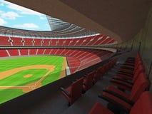 3D framför av baseballstadion med röda platser och storgubbeaskar Arkivfoton