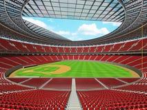 3D framför av baseballstadion med röda platser och storgubbeaskar Royaltyfri Fotografi