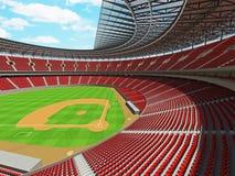3D framför av baseballstadion med röda platser och storgubbeaskar Royaltyfri Bild