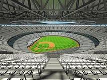 3D framför av baseballstadion med vita platser och storgubbeaskar Arkivfoto