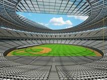 3D framför av baseballstadion med vita platser och storgubbeaskar Arkivbild