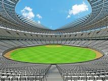 3D framför av baseballstadion med vita platser och storgubbeaskar Fotografering för Bildbyråer