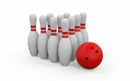 3D framför av bowlingklot och käglor vektor illustrationer