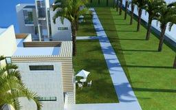 3d framför av byggnadsyttersida stock illustrationer
