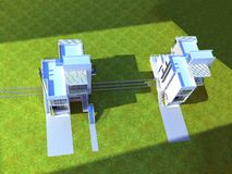 3d framför av byggnadsyttersida vektor illustrationer
