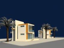 3d framför av byhusyttersida vektor illustrationer