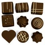 3d framför av chokladgodisar royaltyfri illustrationer