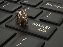 3d framför av datortangentbordet med björn och NIKKEI 225 index b Royaltyfri Fotografi