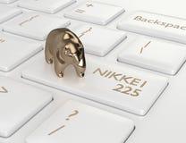 3d framför av datortangentbordet med björn och NIKKEI 225 index b stock illustrationer