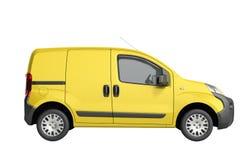 3d framför av den gula leveransen Van Icon ingen skugga Royaltyfria Bilder