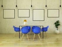 3D framför av den härliga äta middag tabellen med blåa stolar Arkivbild