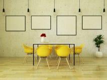 3D framför av den härliga äta middag tabellen med gula stolar Arkivbilder
