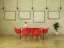 3D framför av den härliga äta middag tabellen med ljusa röda stolar Arkivbild