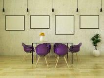 3D framför av den härliga äta middag tabellen med purpurfärgade stolar Arkivbild
