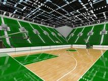 3D framför av den härliga moderna sportarenan för basket med gröna platser Royaltyfri Fotografi