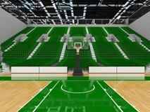 3D framför av den härliga moderna sportarenan för basket med gröna platser Arkivfoton