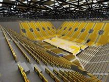 3D framför av den härliga sportarenan för basket med gula platser Arkivbild