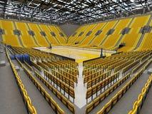 3D framför av den härliga sportarenan för basket med gula platser Royaltyfri Bild